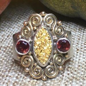 Sajen 10K & Sterling Silver Gold Druzy Ring